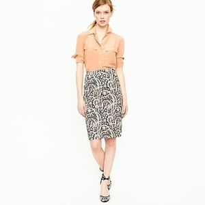 J. Crew No. 2 Pencil Skirt Feather Paisley
